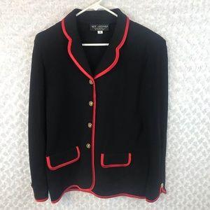 NWOT St. John Collection Red Trim Knit Jacket
